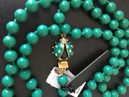 NWT SINGLE-STRAND BEADED Warm Emerald NECKLACE WITH LADYBUG CLASP - $25.99