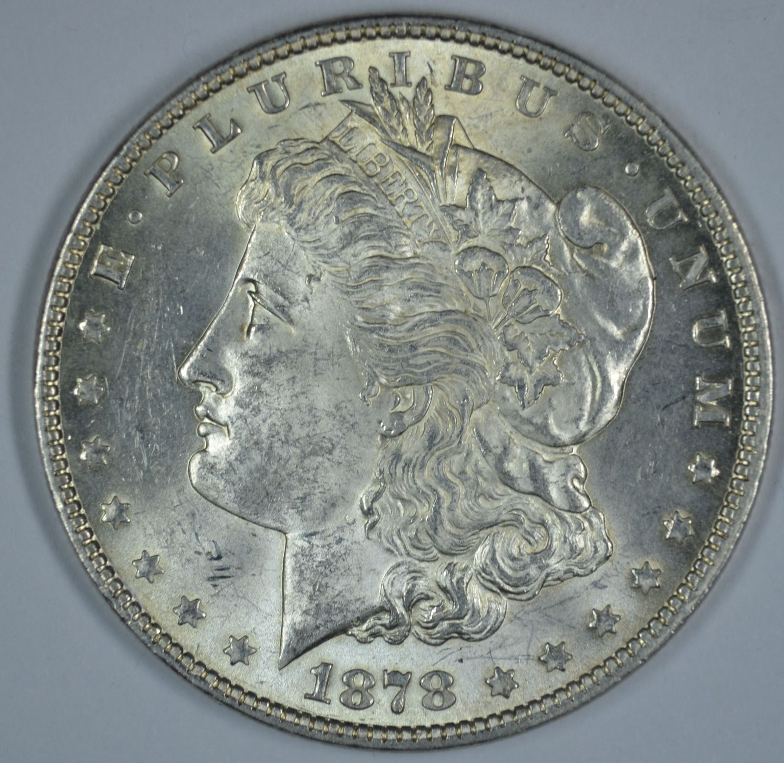 Primary image for 1878 P Morgan circulated silver dollar AU details