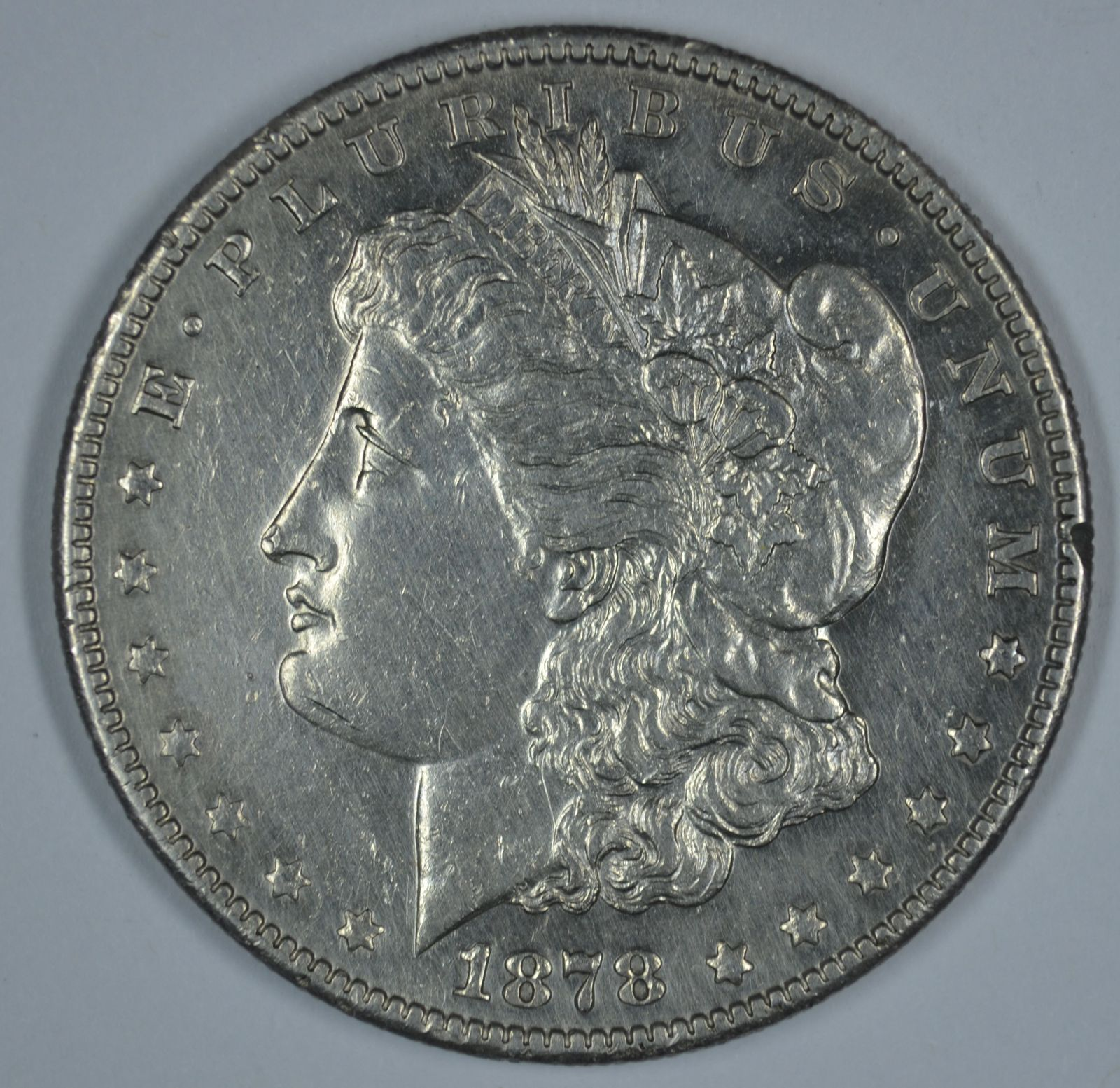 Primary image for 1878 S Morgan circulated silver dollar AU details