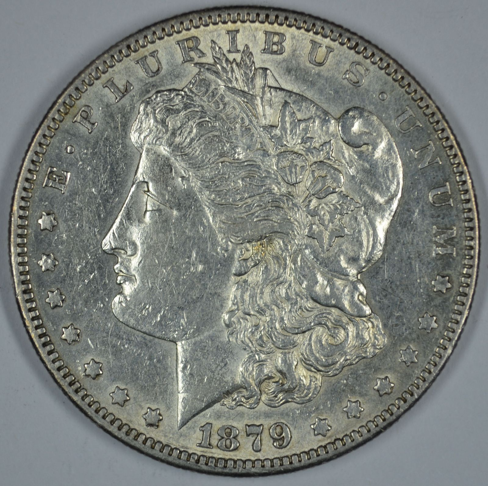 Primary image for 1879 S Morgan circulated silver dollar AU details
