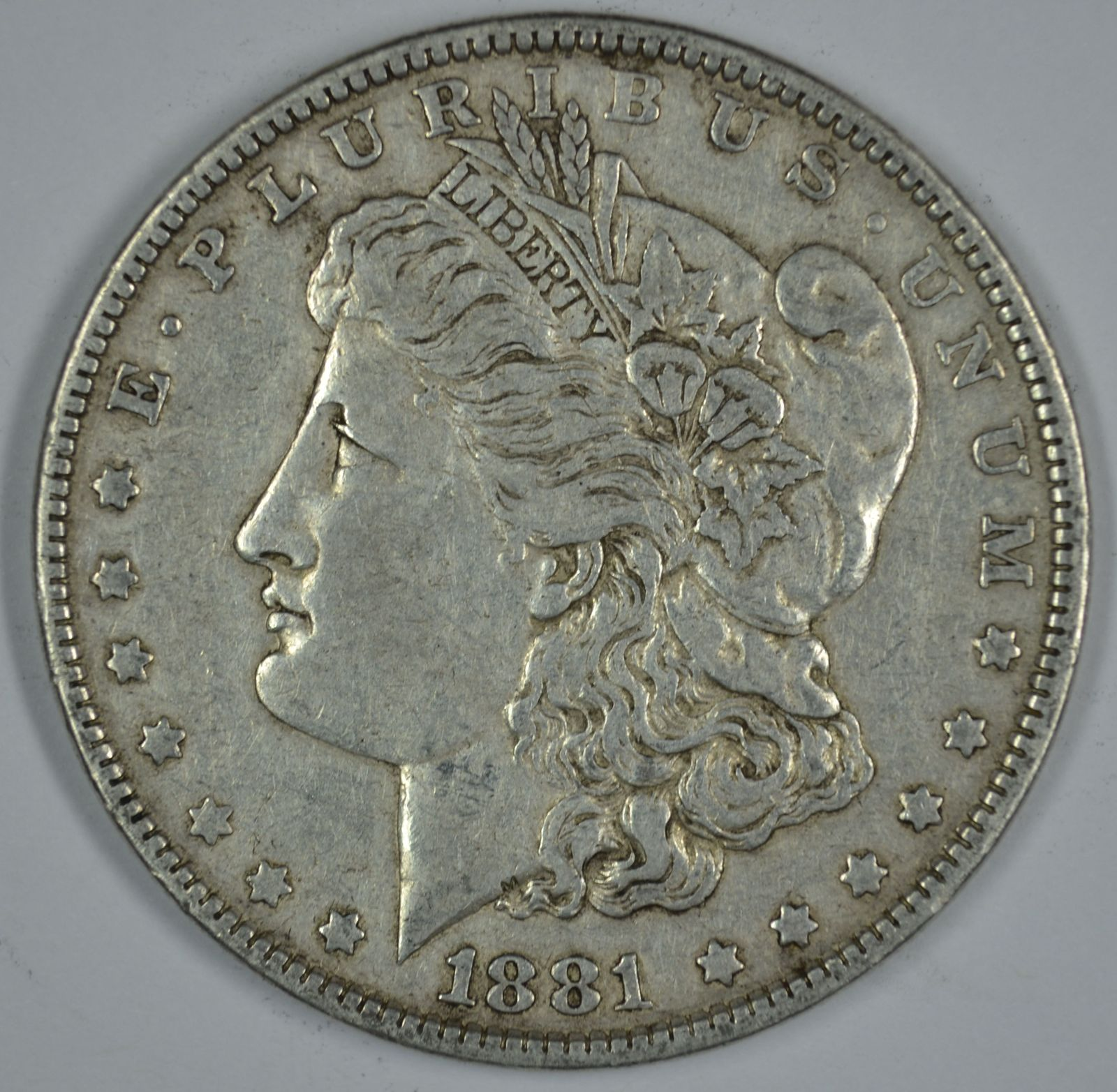 Primary image for 1881 P Morgan circulated silver dollar VF details