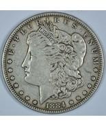 1884 P Morgan circulated silver dollar VF details - $34.00
