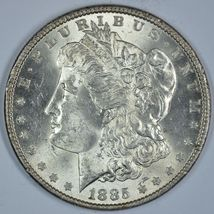 1885 P Morgan circulated silver dollar AU details - $45.00