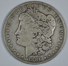 1886 P Morgan circulated silver dollar VG details - $29.50