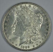 1889 P Morgan circulated silver dollar XF details - $44.00