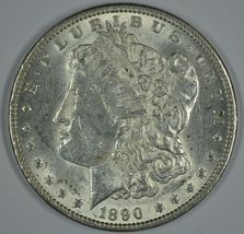 1890 P Morgan circulated silver dollar XF details - $42.00