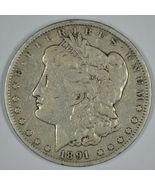 1891 CC Morgan circulated silver dollar VG details Carson City - $125.00