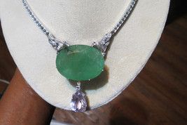 Huge Estate 122 ct Emerald, kunzite & Diamond 14k gold platinum necklace... - $29,999.99