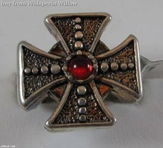 Antiqued Sterling Silver Gothic Fancy Iron Cross Biker Ring 10 - $19.95
