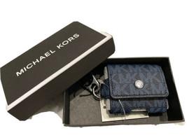 Michael Kors Unisexe Airpod Ecouteurs Étui Sur Clé Fob Bleu Signature Mk... - $38.47