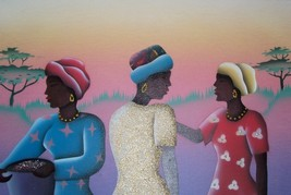 "SIGNED W. HARPER ""AFRICAN WOMEN AT THE MARKET"" PAINTING - $865.55"