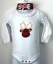 Holiday/Christmas Rudolph Reindeer Long Sleeve Bodysuit + Socks & Headba... - $21.95