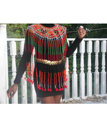 New  Rare African Maasai Or Asian Beaded Bib Collar wrap necklace Tassel... - $1,299.99