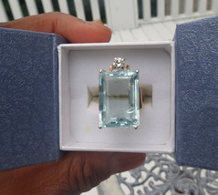 Estate Huge blue 22.30 carat Aquamarine & .25 diamond 14k yellow gold ri... - $5,699.99
