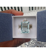 Estate Huge blue 22.30 carat Aquamarine & .25 diamond 14k yellow gold ri... - $5,699.99
