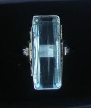 Estate Huge 20.70 carat Aquamarine & diamond 14k yellow gold & SS ring S... - $5,399.99