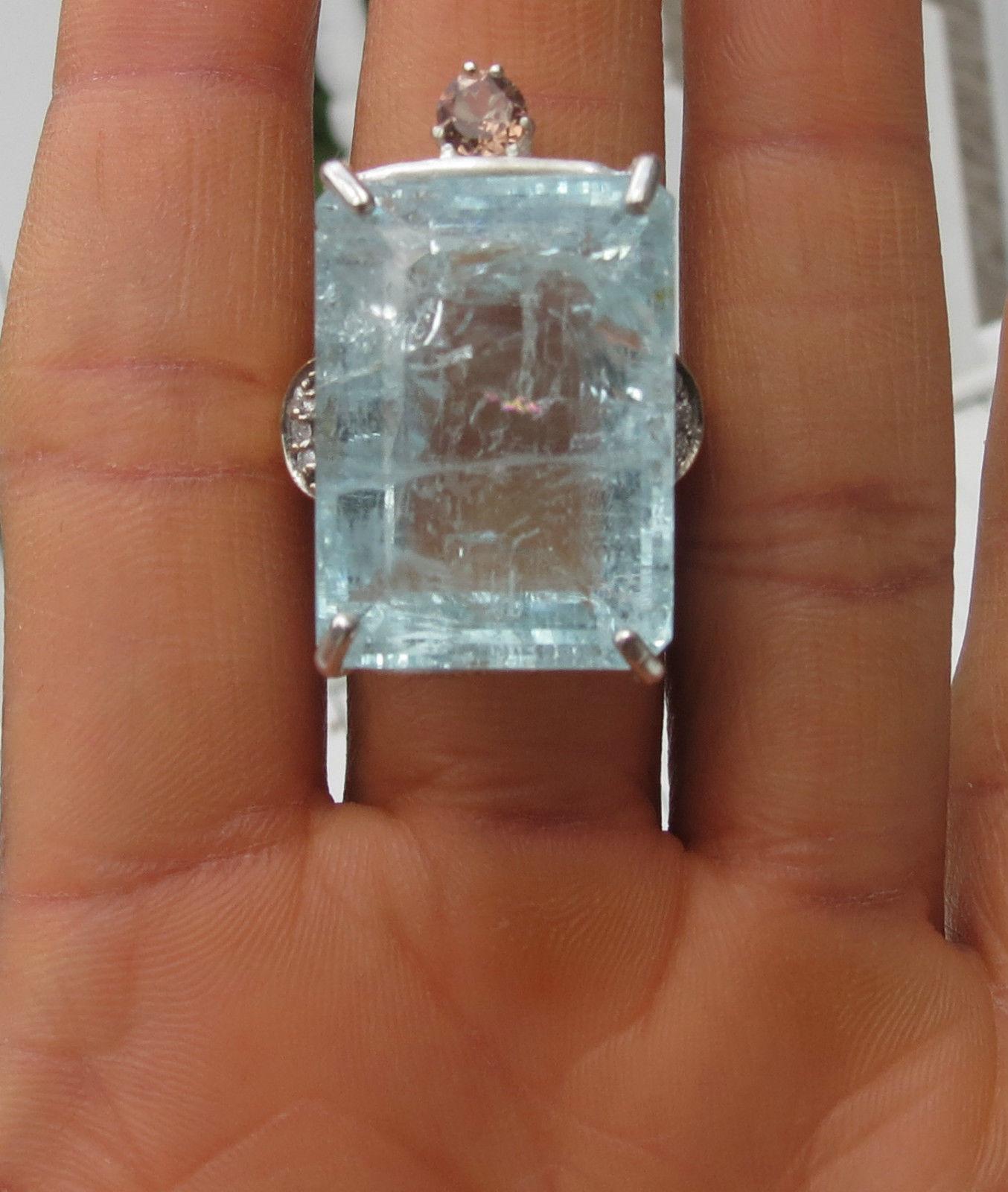 Estate Huge 50.62 carat Aquamarine diamond topaz 14k yellow gold& SS ring Sz 7.7