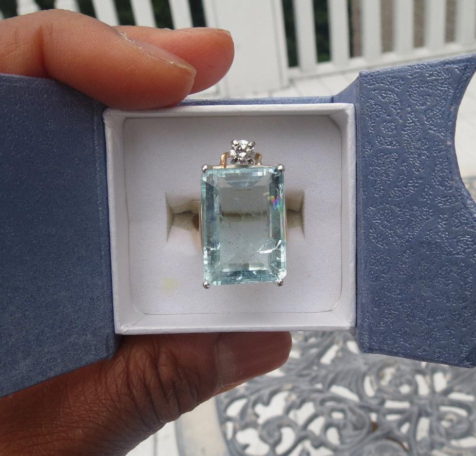 Estate Huge blue 22.30 carat Aquamarine & .25 diamond 14k yellow gold ring 7.95