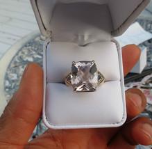 New Huge11.45 carat Morganite &0.25 Carat diamond 14k yellow gold ring 7.8 - $1,699.99