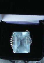 Estate Huge 34.6 carat Aquamarine & diamond 14k yellow gold & SS ring Sz... - $2,799.99