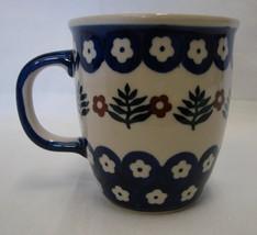 Vintage Handmade Boleslawcu Lisiecka Poland Polish Blue Flower Floral Mug Cup - $21.53