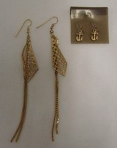 Vintage Lot Costume Fashion Gold Plated Triangle Dangle Anchor Nautical Earrings - $14.67