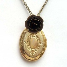 Antiqued Brass Flower Locket Necklace Handmade Vintage Style - $10.99