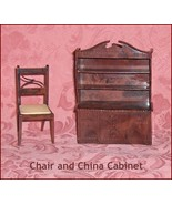 Renwal   China Cabinet and Chair Hard Plastic   Dollhouse Furniture - $10.34