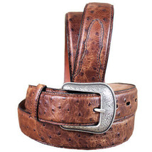 44 Inch 3D Mens Ostrich Print Leather Belt Removable Silver Buckle U-4-44 - $49.45