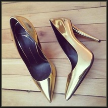 PU Leather Metallic Gold Mirror Pointed Toe High Heel Stiletto Classic Pumps   image 1