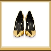 PU Leather Metallic Gold Mirror Pointed Toe High Heel Stiletto Classic Pumps   image 2