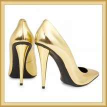 PU Leather Metallic Gold Mirror Pointed Toe High Heel Stiletto Classic Pumps   image 3