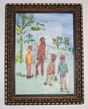 "SILVIA LIEB SMALL FRAMED ACRYLIC ART ""UNTITLED"" SIGNED - $133.20"