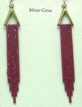 Art Deco Style Hand Painted Earrings Red Glitter - $12.99