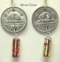 Canadian Coin Amber Gold Glass Earrings - $14.99