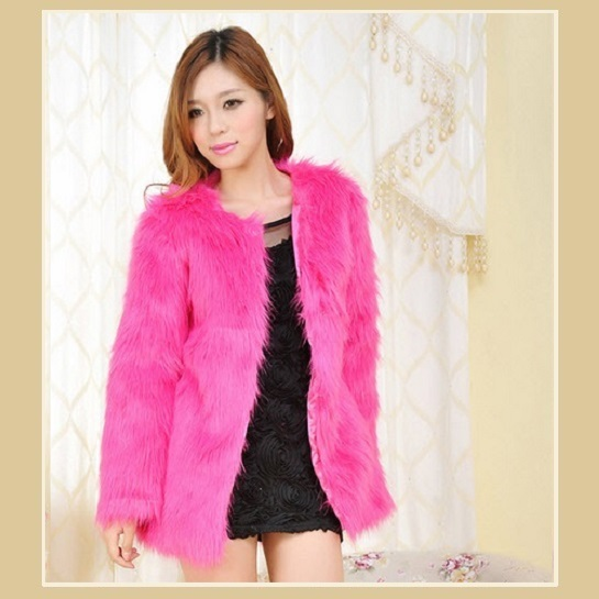 Long Hair Fuchsia Long Sleeve Mid Length Fashion Faux Fox Fur Coat Jacket