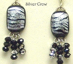 Black & Silver Dichroic & Crystal Earrings - $20.99