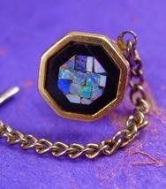 Onyx OPAL Tie Tack Vintage Men's Mosaic Tie Jew... - $95.00