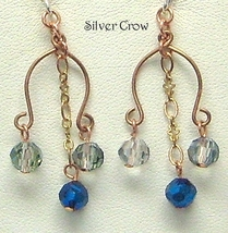Light Blue Midnight Blue Crystal Triple Dangle Copper  Earrings - $11.99