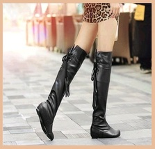 Tall Over the Knee Soft Leather Back Tassel Low Heel Motorcycle Boot Bla... - ₨6,141.37 INR
