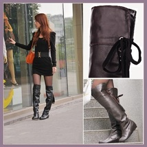 Tall Over the Knee Soft Leather Back Tassel Low Heel Motorcycle Boot Black/Brown image 2
