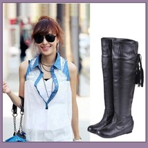 Tall Over the Knee Soft Leather Back Tassel Low Heel Motorcycle Boot Black/Brown image 3