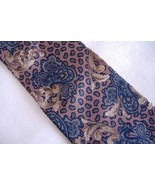Henry Grethel Neck Tie 100% Italian Silk Blue Tan Brown Paisley Classic ... - $27.00