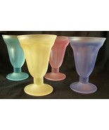 Libbey Frosted Sundae Glasses Green Blue Yellow... - $56.00