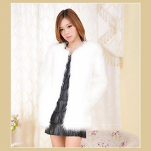 Long Hair White Long Sleeve Mid Length Fashion Faux Fox Fur Coat Jacket