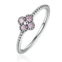 Pink & White Clear CZ Romantic Clover Ring Women Fashion Jewelry - $14.99