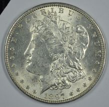 1897 P Morgan circulated silver dollar AU details - $46.00