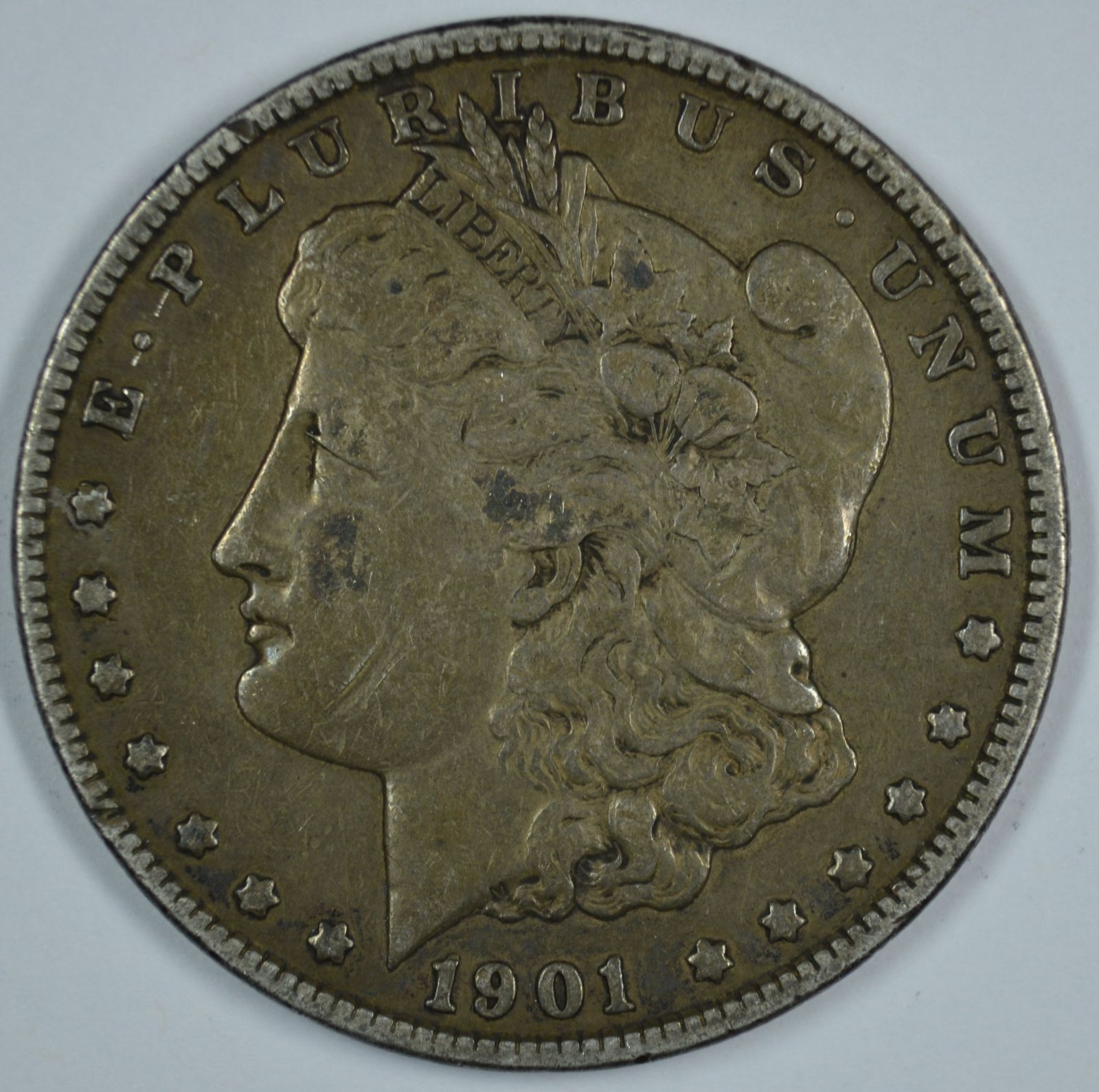 Primary image for 1901 P Morgan circulated silver dollar F details