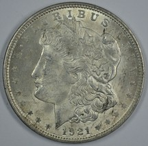 1921 P Morgan circulated silver dollar AU details - $36.00