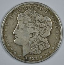 1921 S Morgan circulated silver dollar F details - $31.50